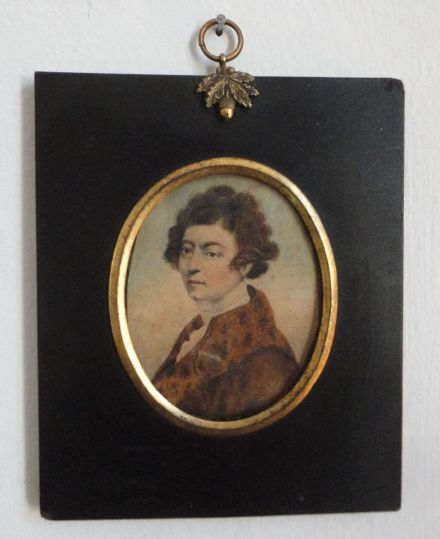 Rare Georgian Antique Miniature Portrait of a Gentleman & Fur Trimmed Coat
